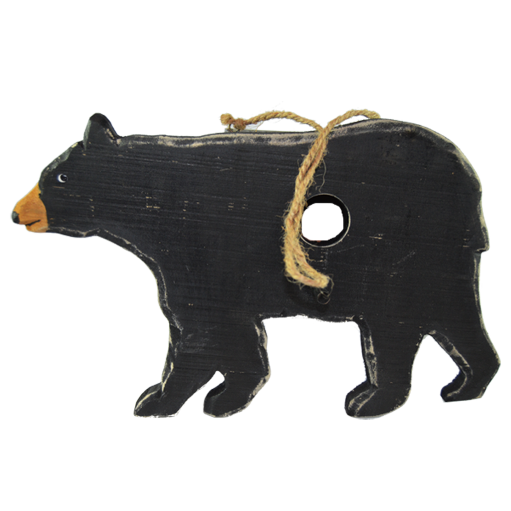 Big Black Bear Real Wood Hanging Birdhouse Home Decor