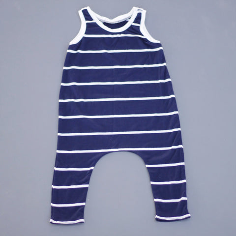 Navy/White Stripe Pants Romper
