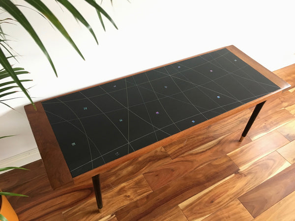 Atomic Glass and Teak Coffee Table
