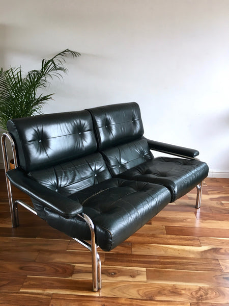 Mid Century 1970's Pieff Chrome and Leather Sofa by Tim Bates