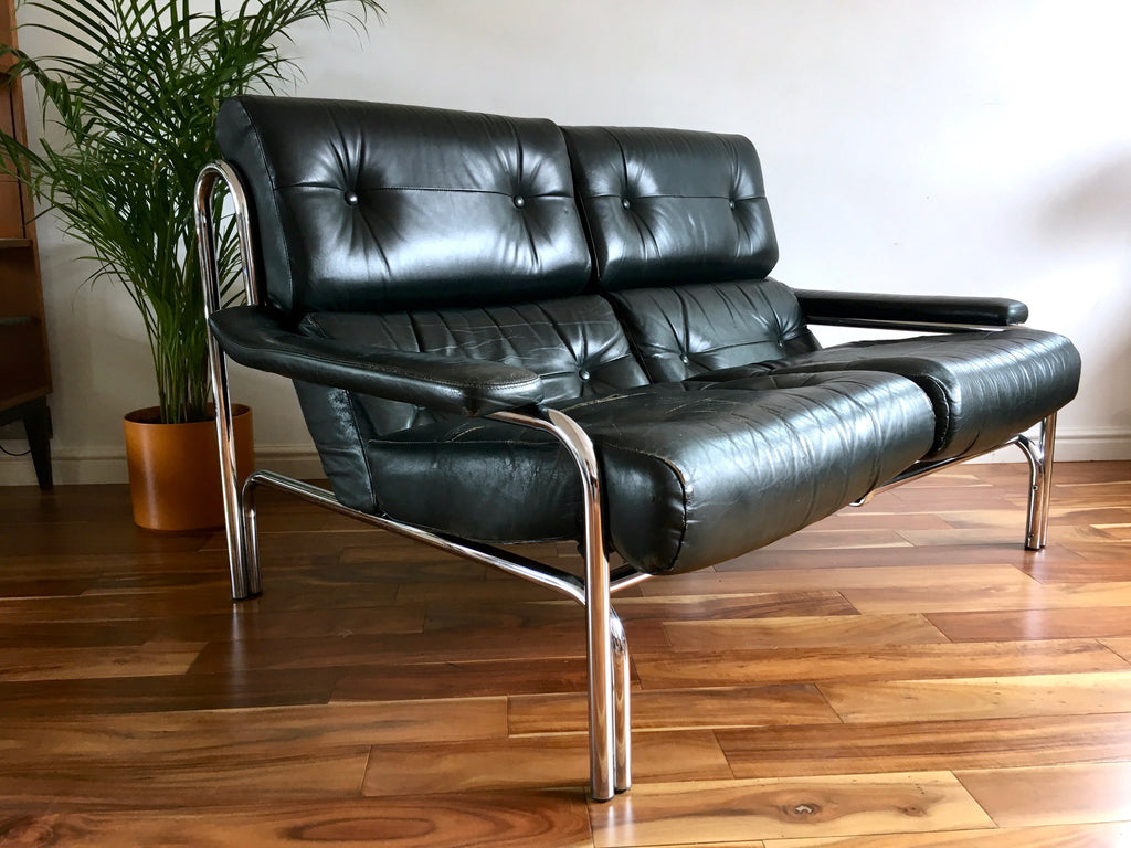 Wonderful Mid Century 1970's Chrome and Black Leather Pieff Sofa | Habiib XO05