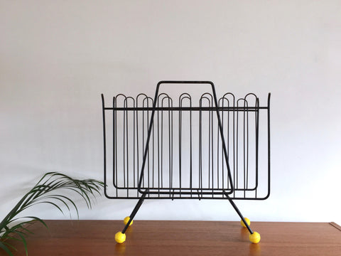 1950's Atomic Sputnik Magazine Rack Yellow Feet