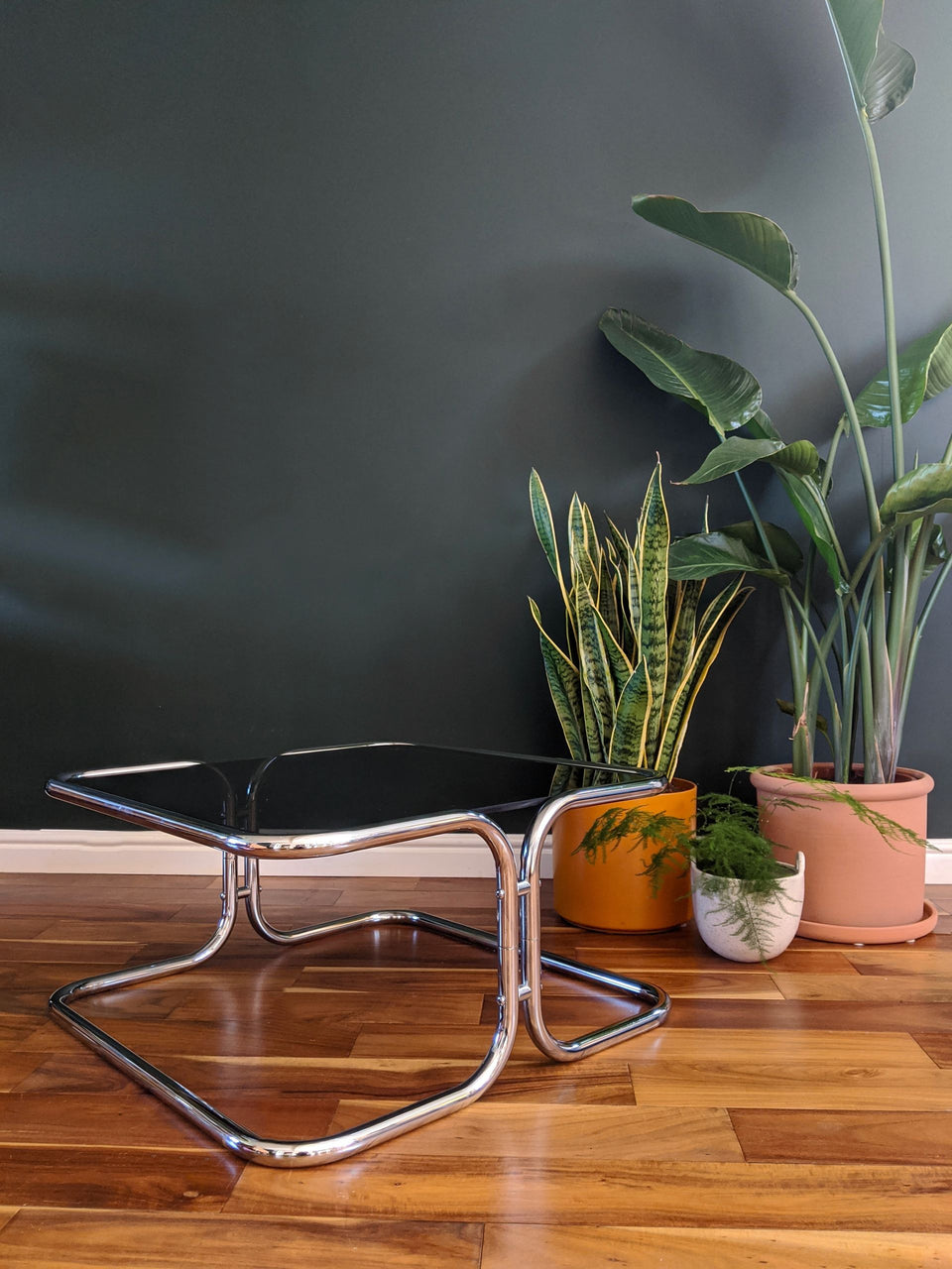 Mid Century Chrome and Smoked Glass Coffee Tables