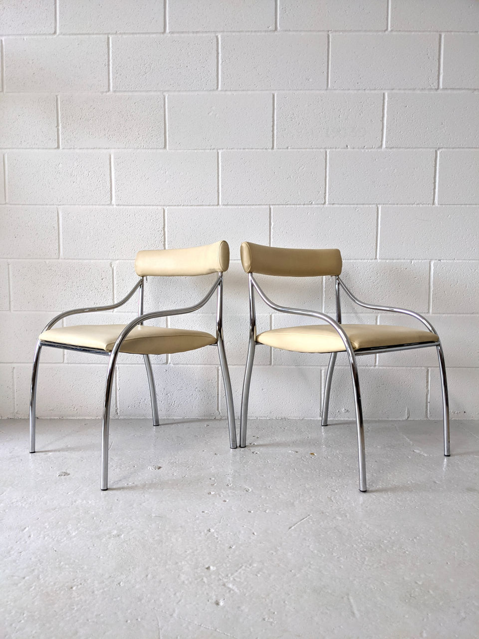 1980s Cream and Chrome Curved Chairs