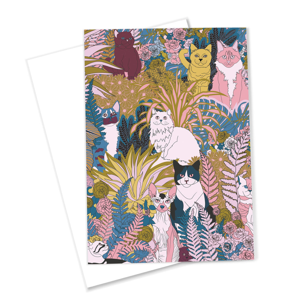 OMG Kitty 'Garden Cats' Greeting Card Plants