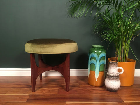 Mid Century Green Velvet G Plan Fresco Stool