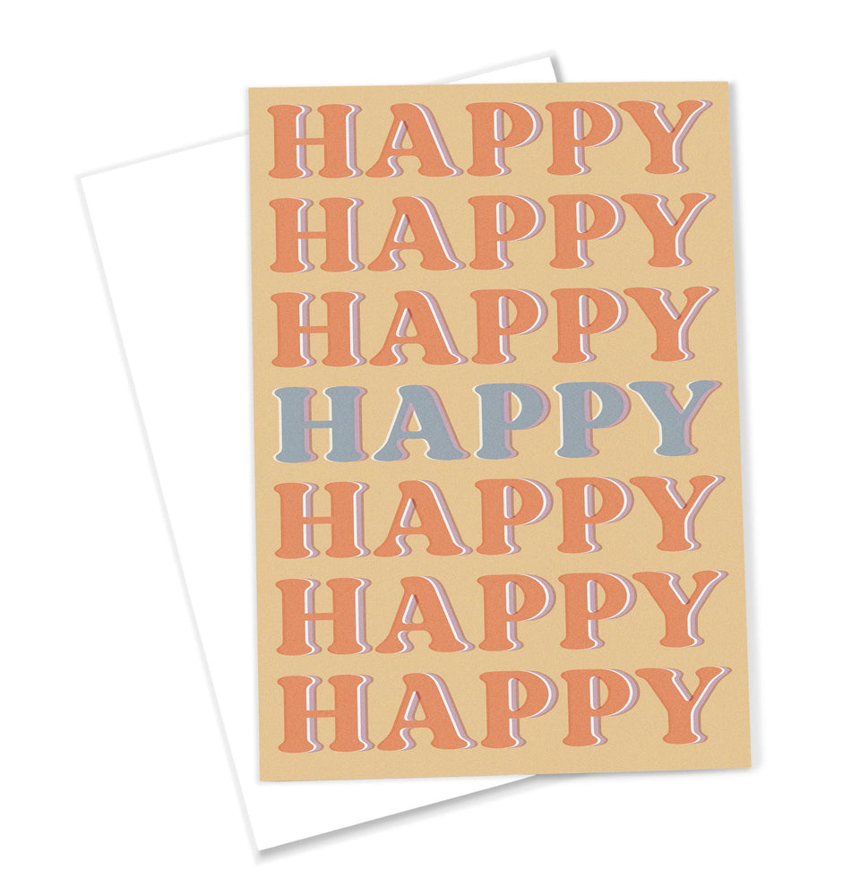 OMG Kitty 'Happy' Greeting Card Retro Inspired Typographical Print