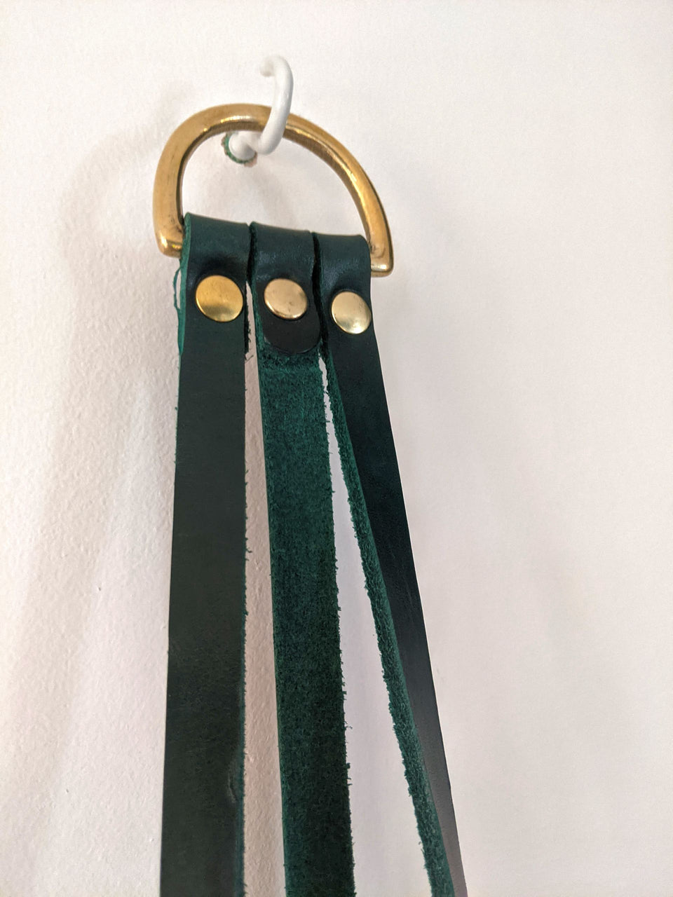 Hung Studios Leather Plant Hanger Forest Green