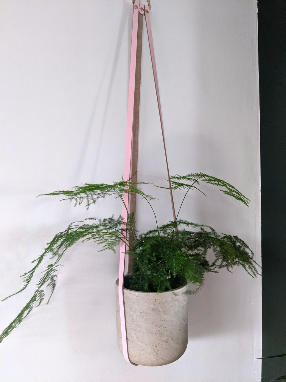 Hung Studios Leather Plant Hanger Pale Pink