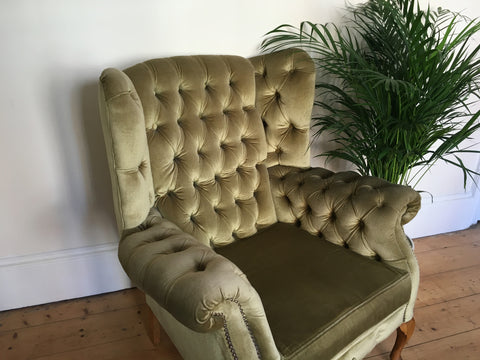 Vintage Green Chesterfield Armchair