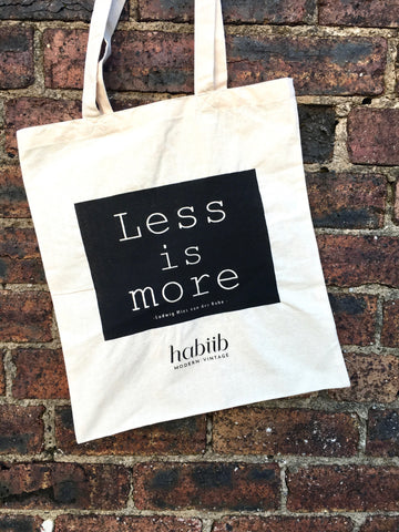 Habiib Home Less is More Screen Printed Tote Bag Mies van der Rohe