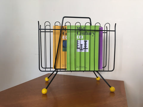 1950s Atomic Sputnik Magazine Rack Yellow