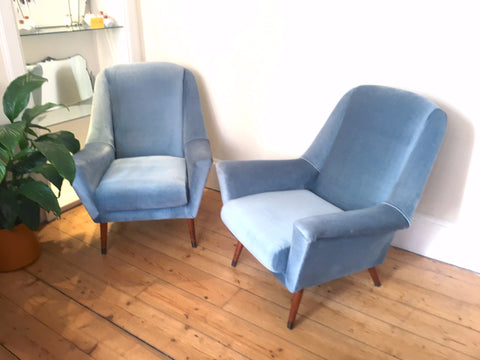 1950's Baby Blue Retro Armchair