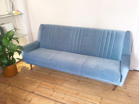 1950's Blue Velvet Sofa Bed Mid Century