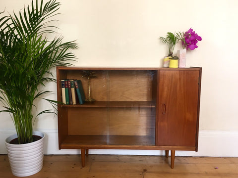 Mid Century Teak and Glass Book Case