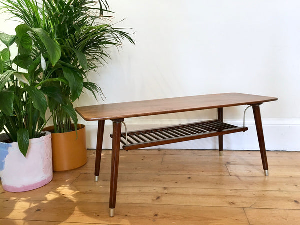 Mid Century Coffee Table with Magazine Shelf