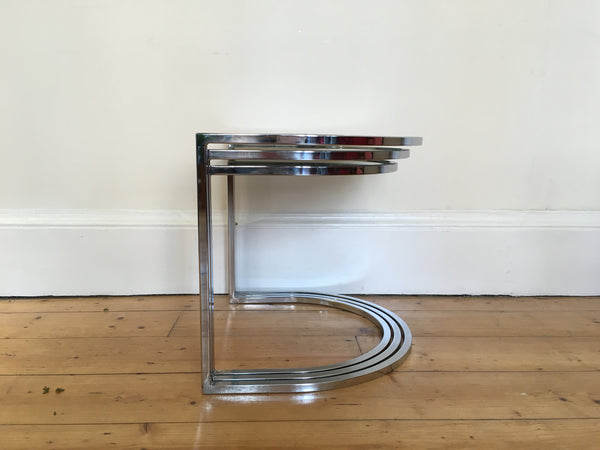 1970s Chrome and Smoked Glass Tables