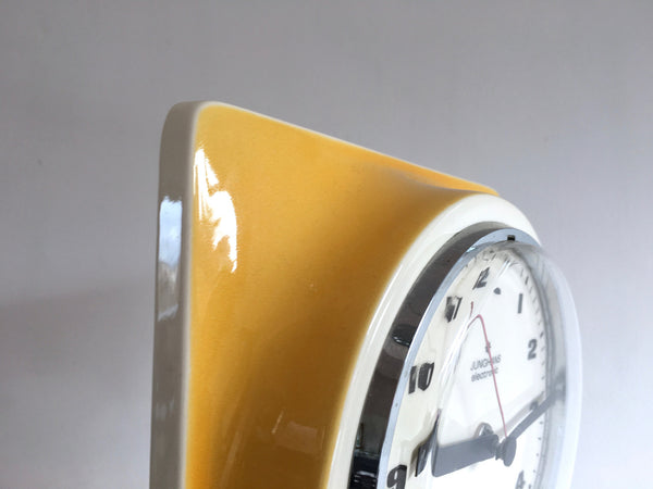 Vintage Ceramic Yellow Junghans Auto-mat German Wall Clock