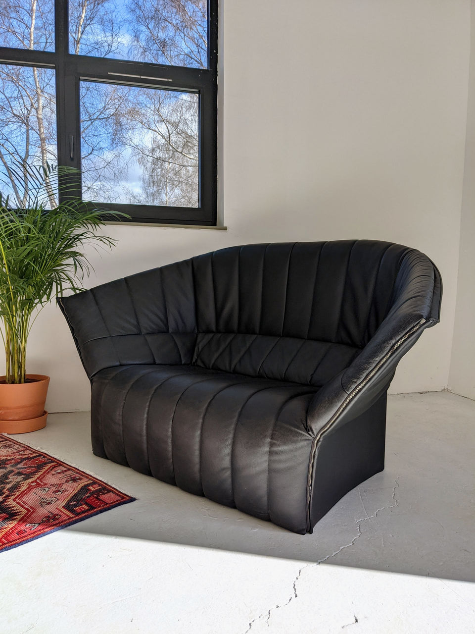 Ligne Roset Moel Sofa Black Leather Mid Century
