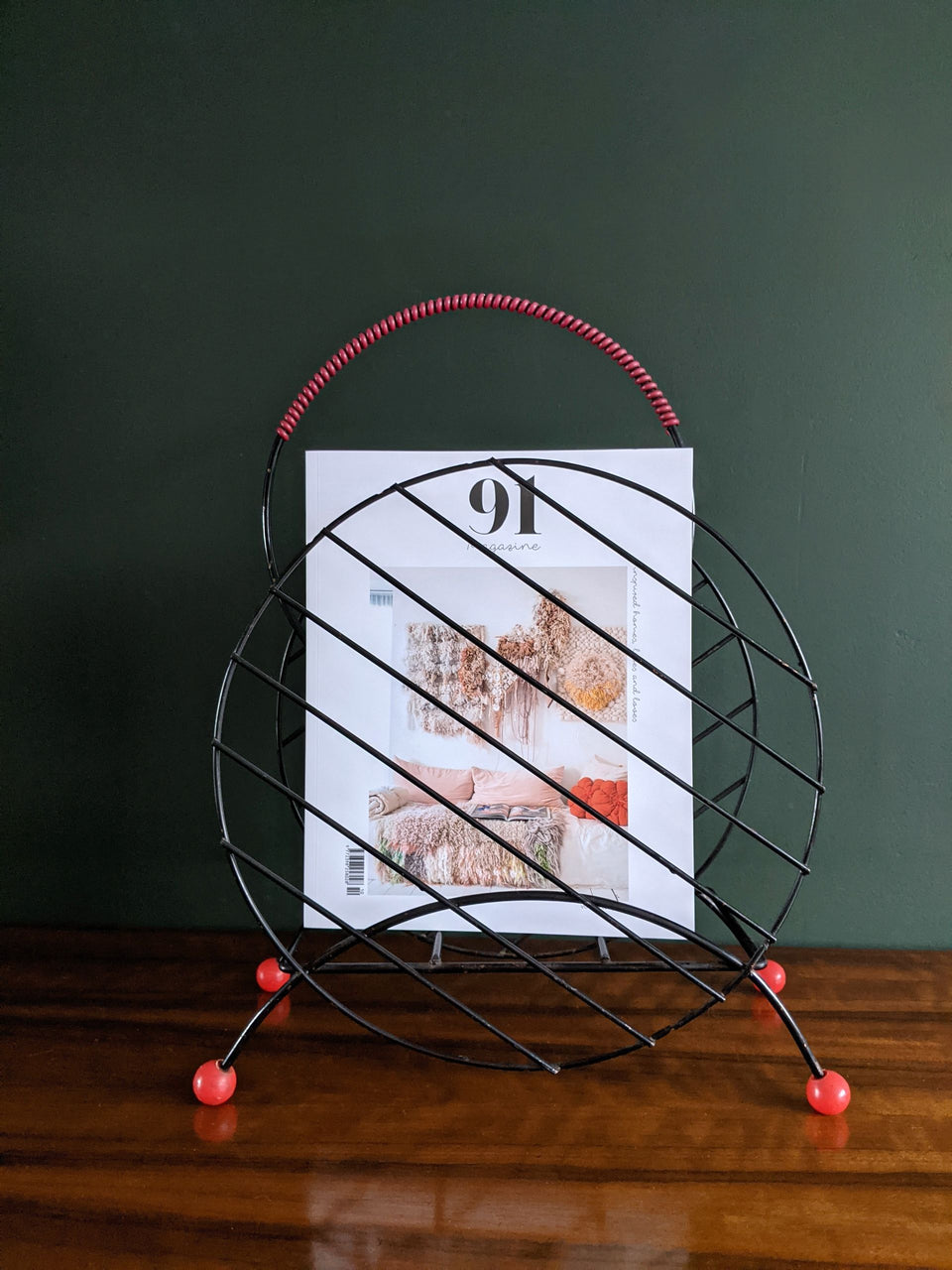 Mid Century Atomic Sputnik Circle Magazine Rack