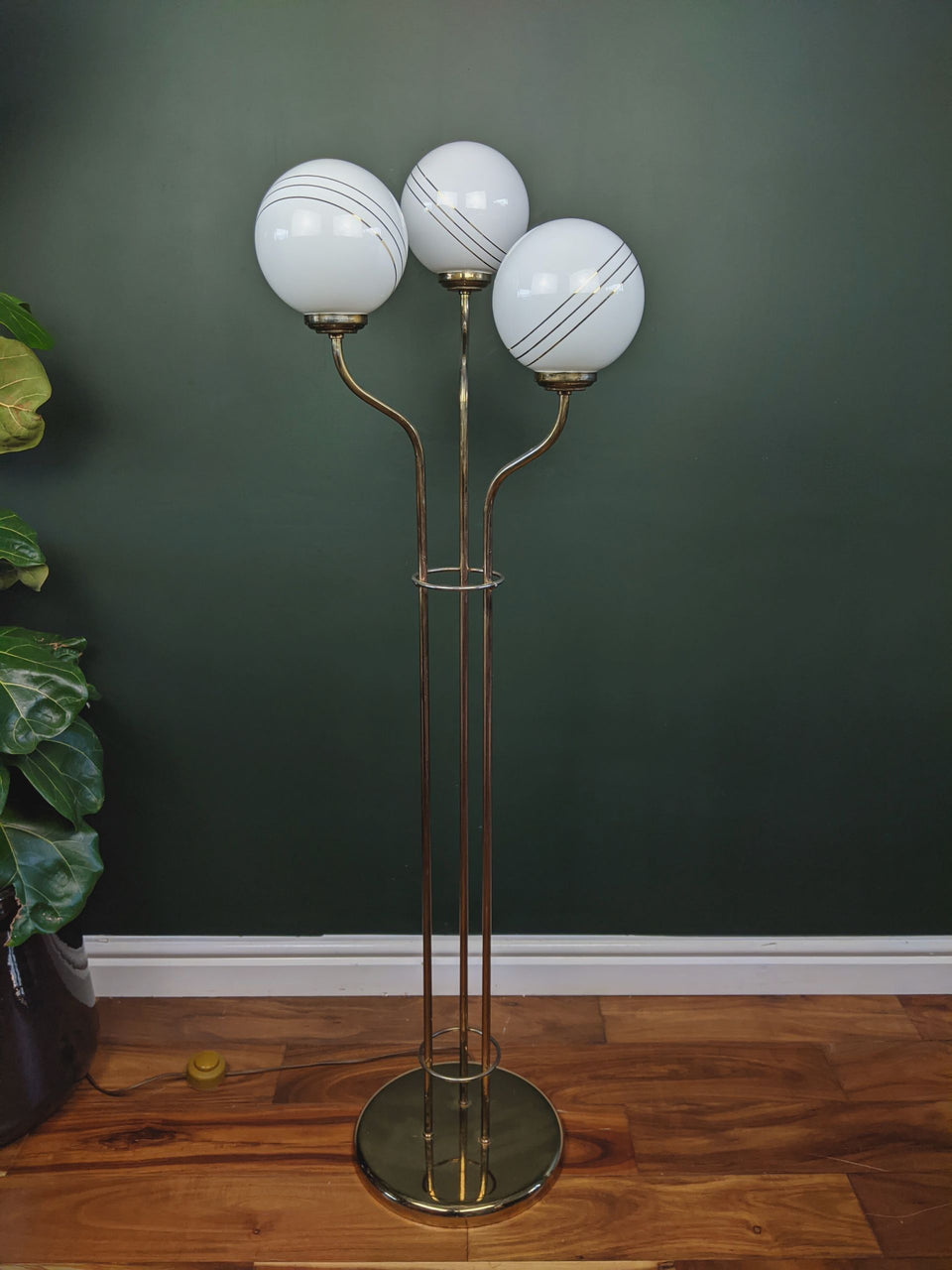 Mid Century Triple  Glass Globe and Brass Floor Lamp