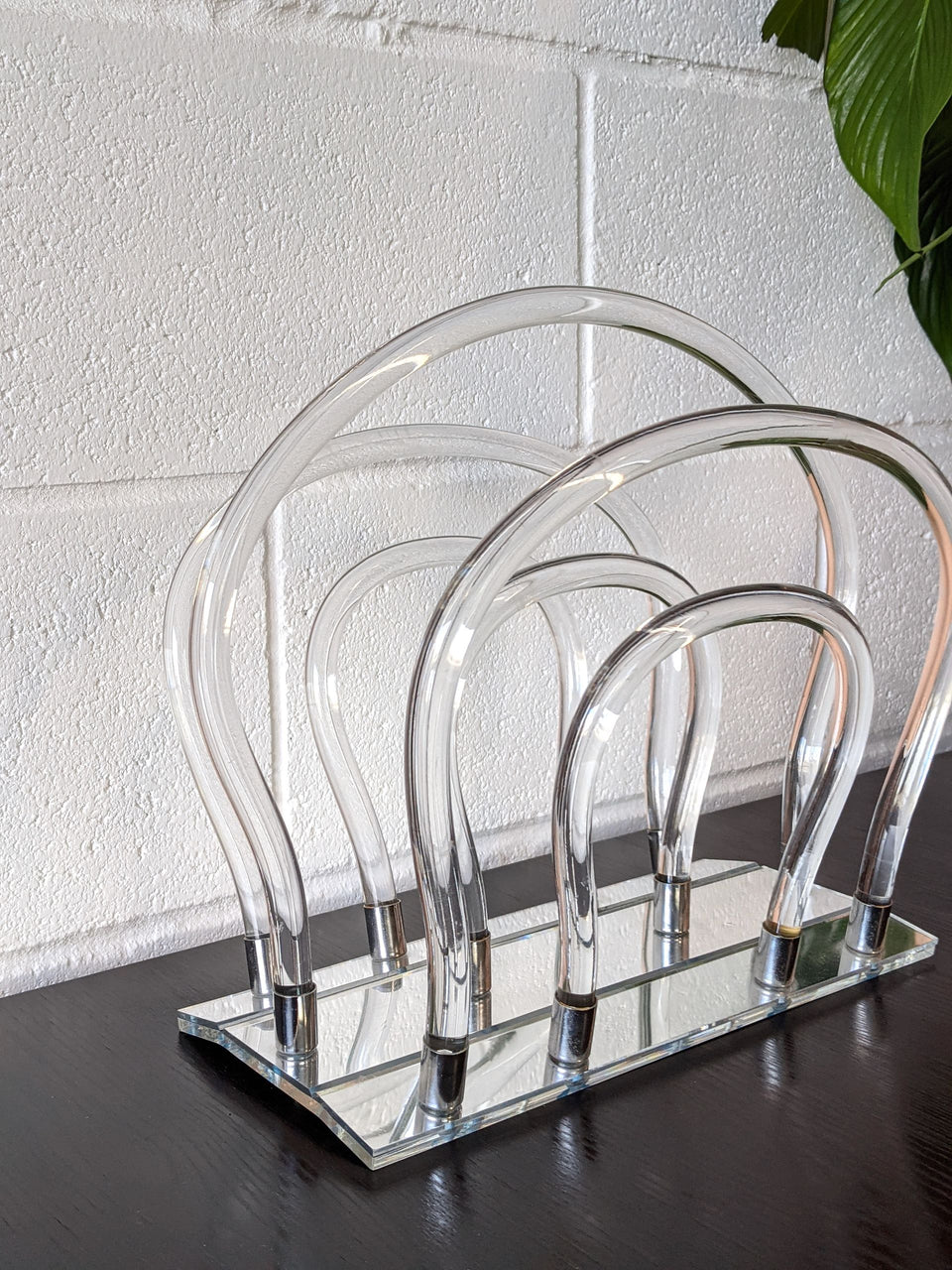 Mid Century Modern American Lucite Magazine Rack by Dorothy Thorpe