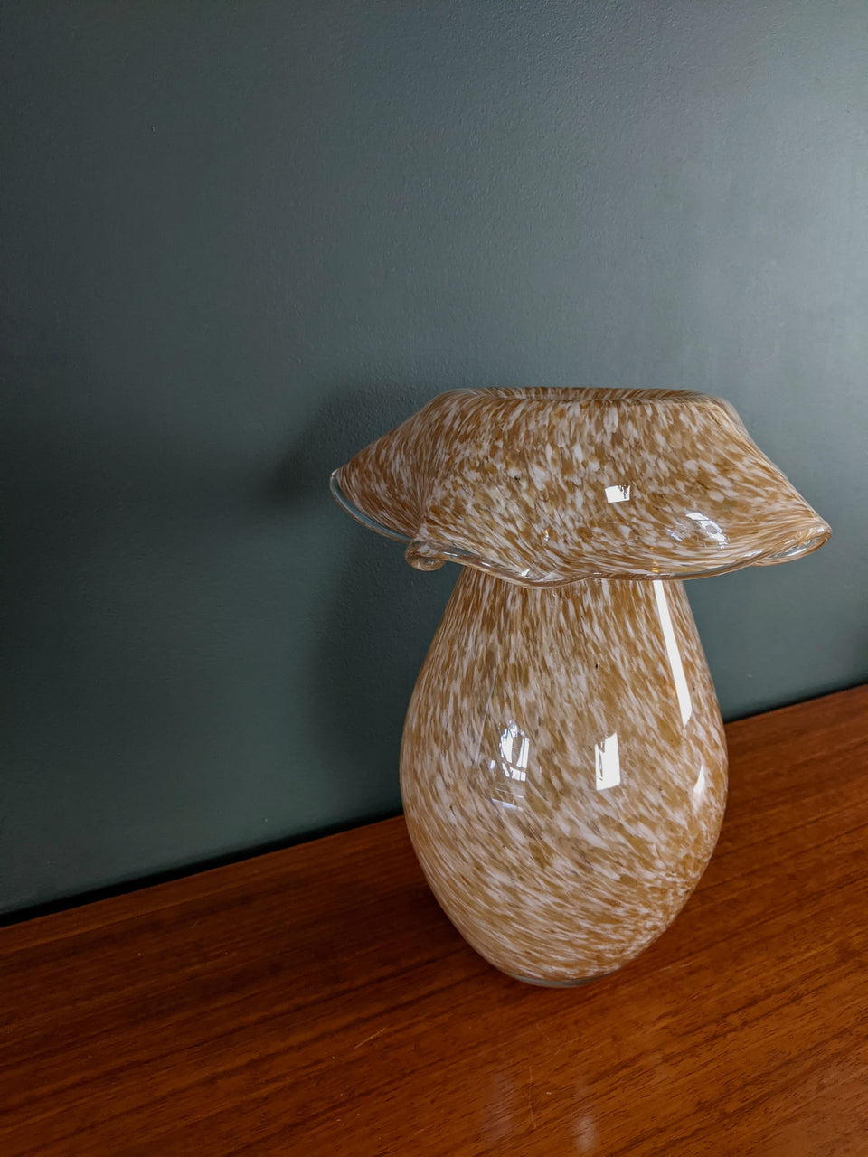 Large Mid Century Murano Glass Speckled Vase