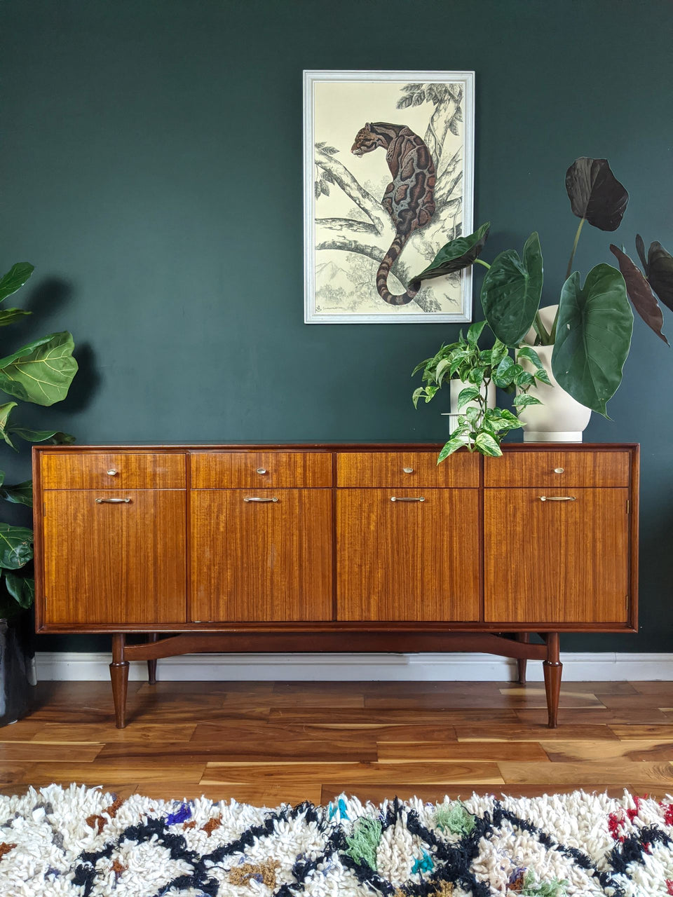 Mid Century Sideboard with Brass Handles
