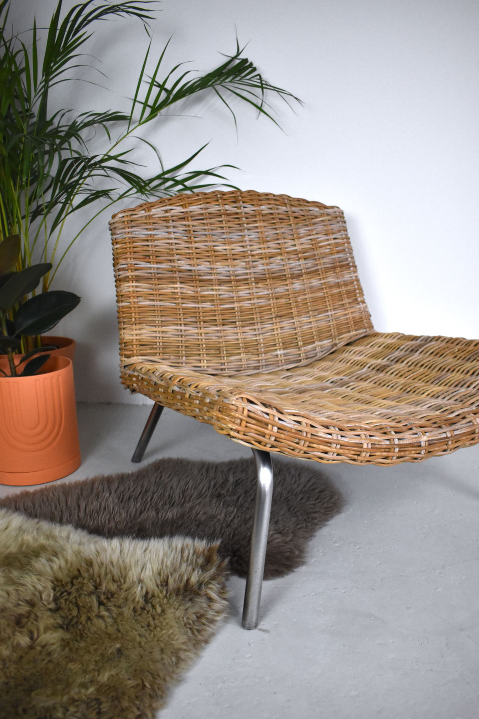 Mid Century Rattan and Chrome Low Armchair