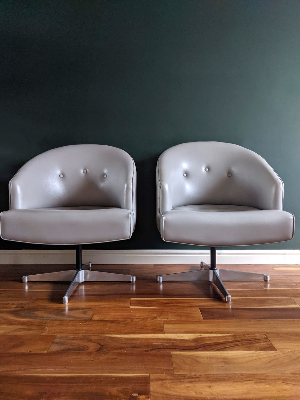 Mid Century Wilkes Berger Grey Swivel Armchairs