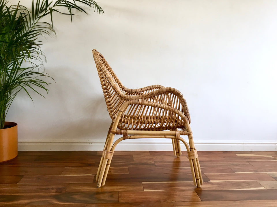 1970s Bamboo Armchair (Two Available)