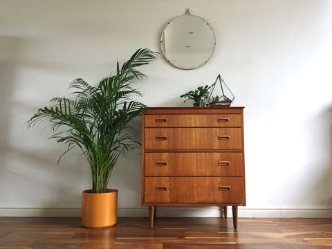 Mid Century Teak Tallboy. Retro Chest of Drawers. Danish Tallboy.