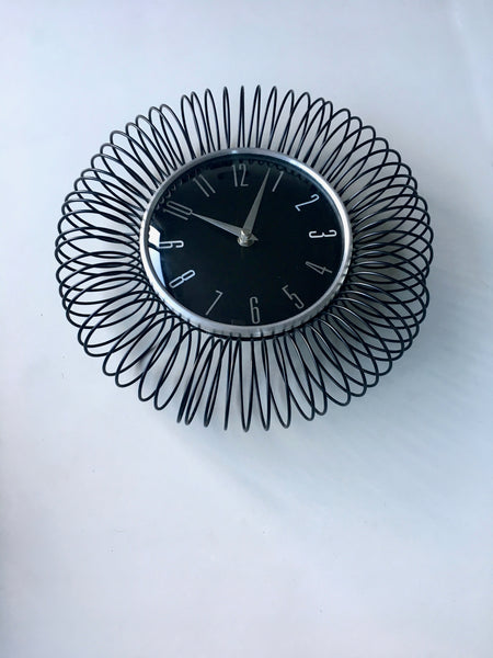 Mid Century Retro Black Spirals Wall Clock