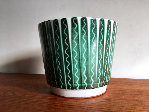 Vintage Glazed Terracotta Plant Pot Made in Norway Green Leaf Print