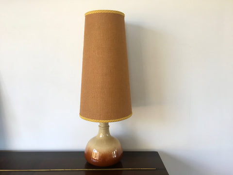 Mid Century Ceramic Desk Lamp with Tall Gold Conical Shade