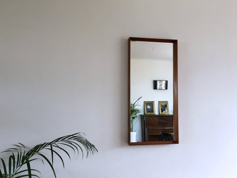 Mid Century Large Danish Teak Wall Mirror by Pedersen and Hansen