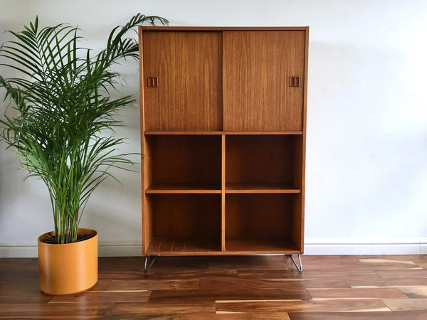 Mid Century Danish Record Cabinet on Hairpin Legs