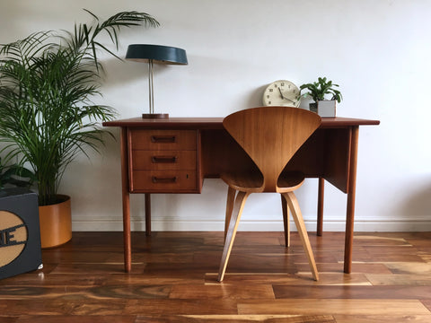 Mid Century Danish Tibergaard Desk by Gunnar Nielsen Book Shelf