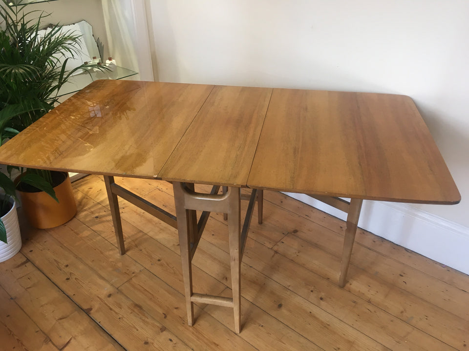 Mid Century Retro Gold Drop Leaf Dining Table