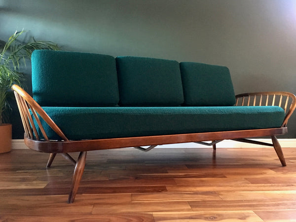 Mid Century Ercol Day Bed Studio Couch Reupholstered Bute Tiree Green