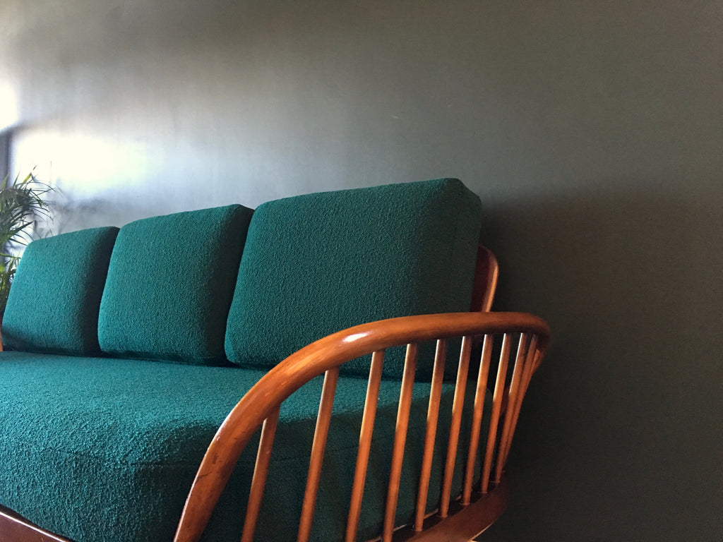 Mid Century Dark Ercol Day Bed Sofa Reupholstered Tiree