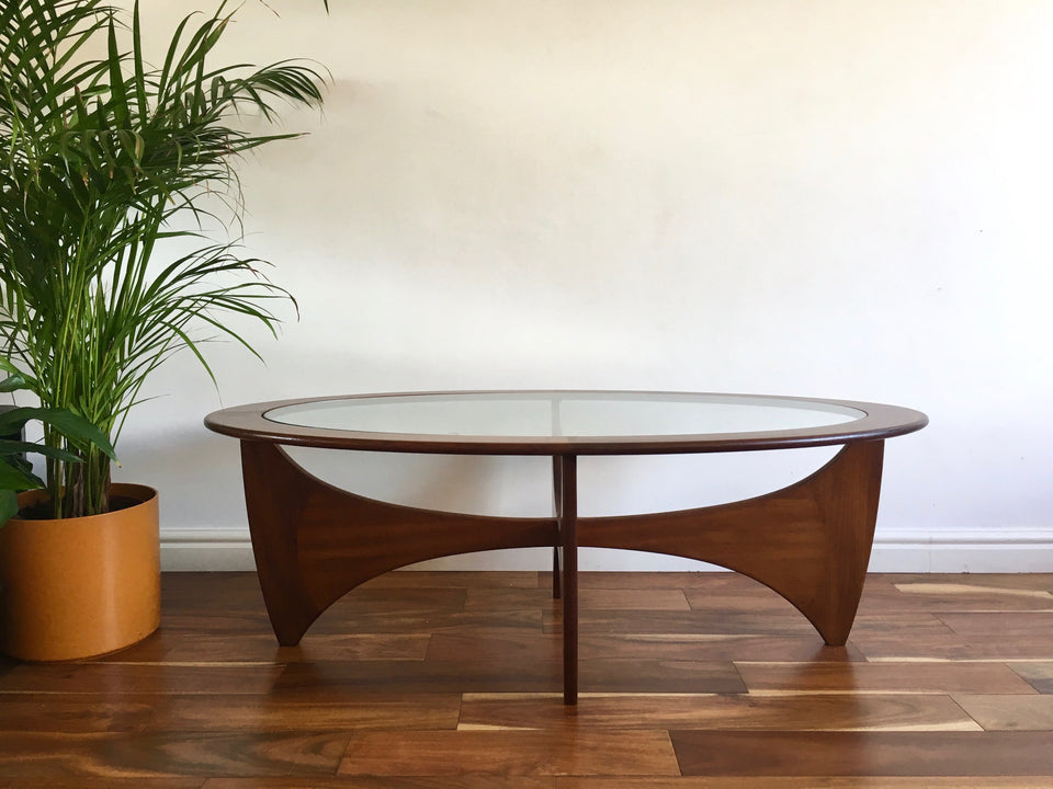 Mid Century G Plan Oval Coffee Table Teak and Glass