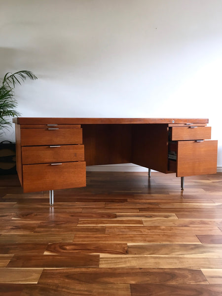 Large Mid Century Desk by Gordon Russell with Chrome Details