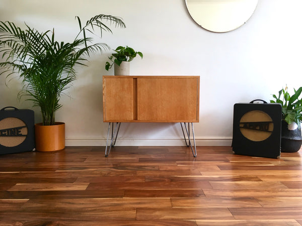 Large Mid Century Record Cabinet on Hairpin Legs