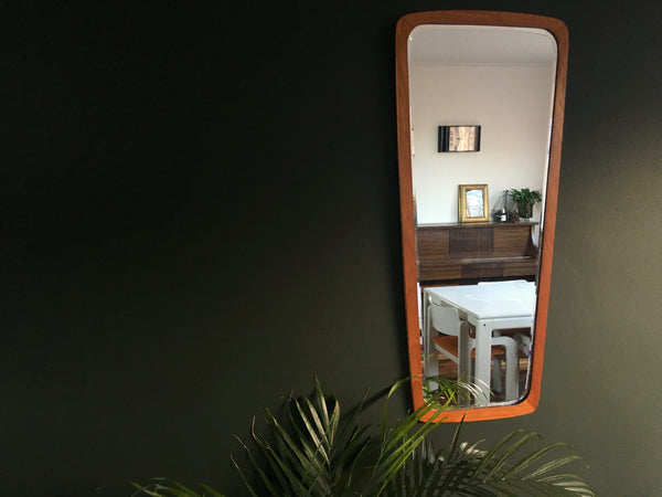 Large Mid Century Teak Framed Wall Mirror Danish Vintage Retro