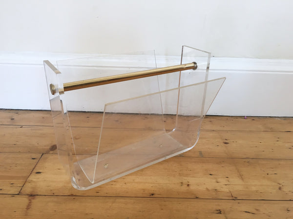 Mid Century Lucite and Brass Magazine Rack