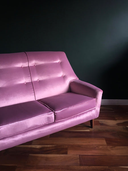 Mid Century Pink Velvet Parker Knoll Sofa and Armchair