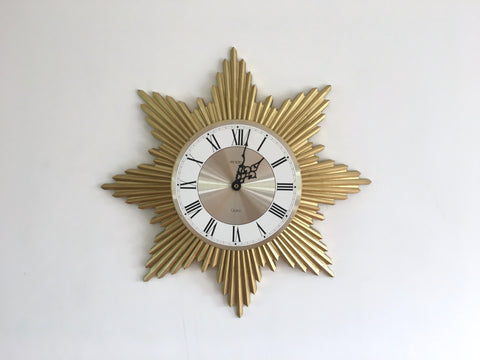 Mid Century Sunburst Wall Clock by President