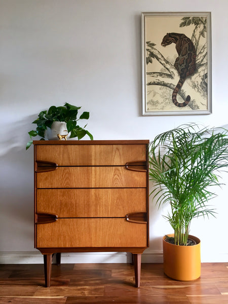 Mid Century Remploy Tallboy Chest of Drawers Vintage Clouded Panther Samaraweera