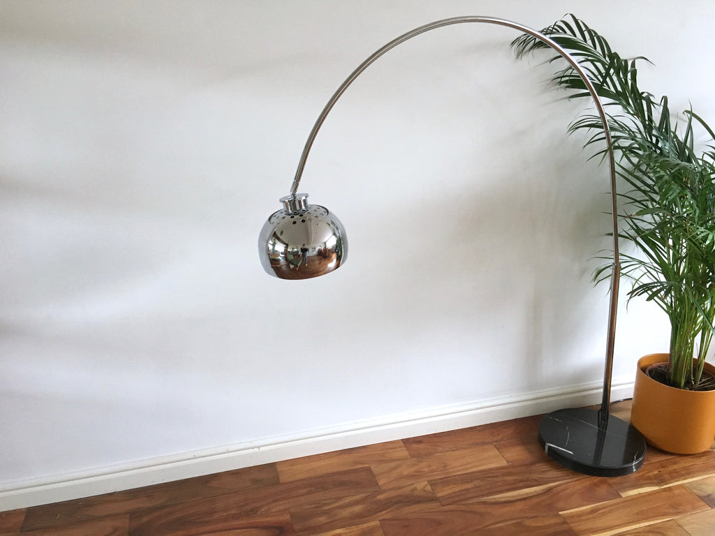 Retro Arc Floor Lamp Chrome And Marble Habiib
